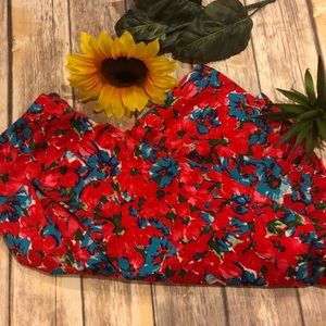 TALBOTS Flowered Size 10 Colorful Pleated Skirt
